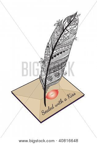 Decorative feather over envelope sealed with a kiss
