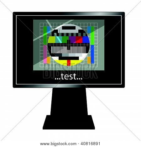Lcd Tv With Test Vector Illustration