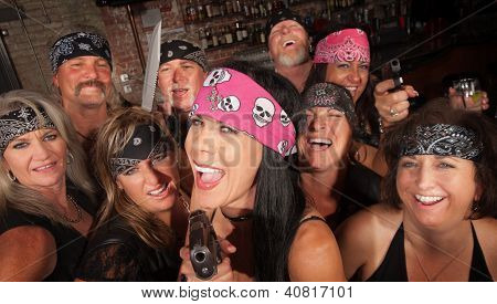 Laughing Gang Members In Bar