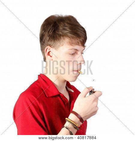 Boy Trying To Smoke