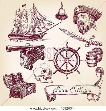 ilustração em vetor coleção pirata