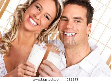 Couple Drinking Milk
