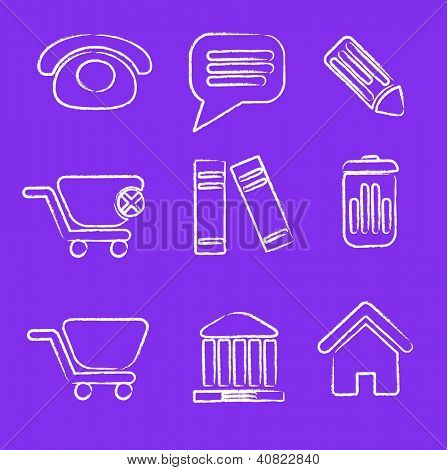 sketch doodle drawn business, office icons set, vector