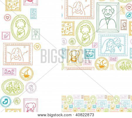 Set of framed pictures seamless pattern and borders
