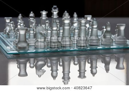 A glass chessboard