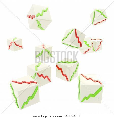 Falling Cubes With Positive And Negative Graphs On Faces
