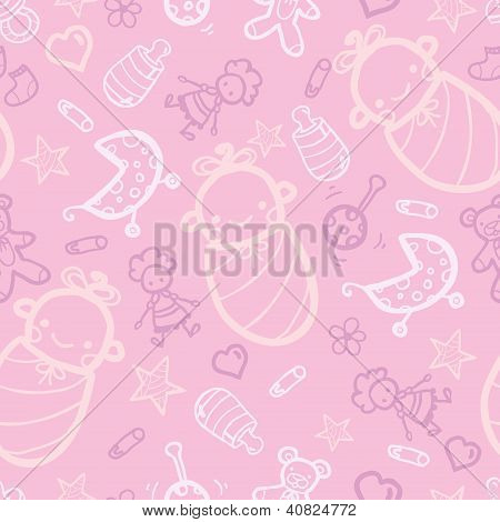 Baby girl pink seamless pattern background