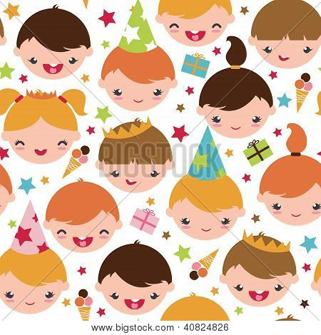 Kids at a birthday party seamless pattern background