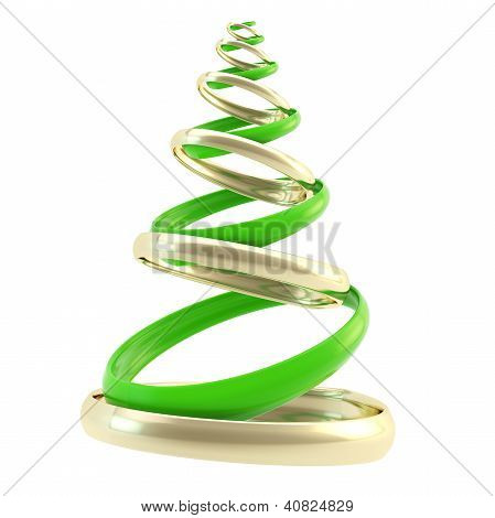 Symbolic Christmas Tree Made Of Rings Isolated