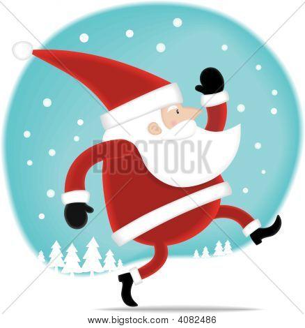 Santa, caminhando sobre a neve