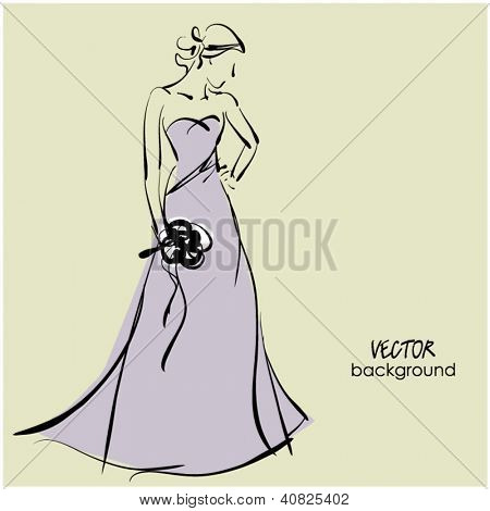 art sketching beautiful young  bride with the bride's bouquet.Vector background with space for text.