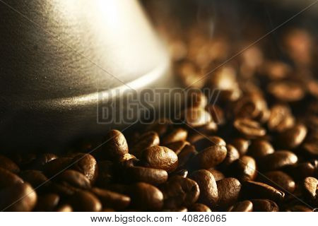 coffee beans Grains of coffee let out aroma and smells drawing of attention