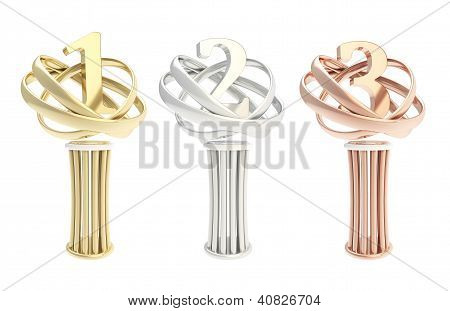 Award Prize Statuette Cup Isolated, Set Of Three