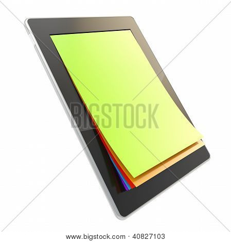 Pad elektronisches Gerät mit Papierseiten als Bildschirm