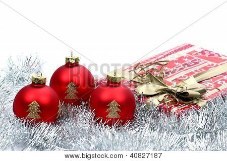 Three Christmas Ball On White Background