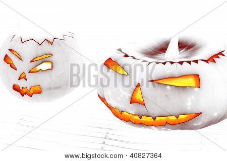 White Halloween Face On White Background