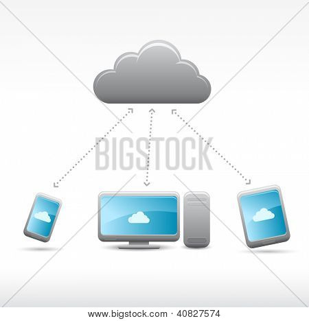 Vector cloud computing icons on light grey background, eps8