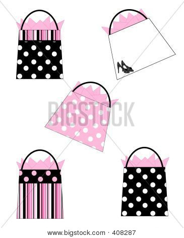 Black & Pink Shopping Bags