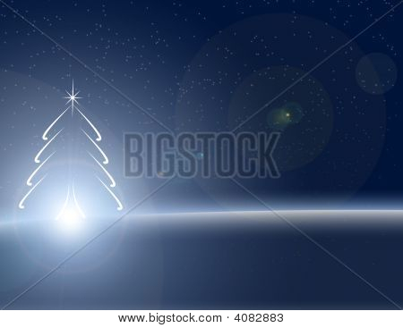Nightime Glowing Blue Christmas Tree