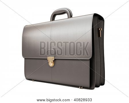 Black business briefcase isolated on white background. Material - skin