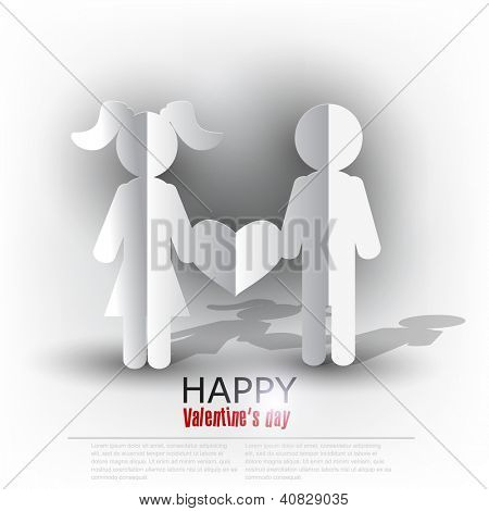 White  paper Men and Woman with heart on  red background. Vector illustration