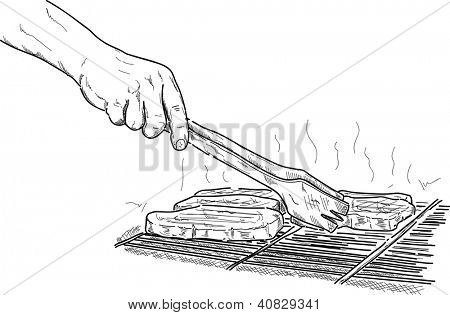 vector  hand  grilling a steak on the  barbeque