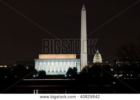Washington DC skyline view with Lincoln Memorial, Washington Monument and US Capitol Building at night