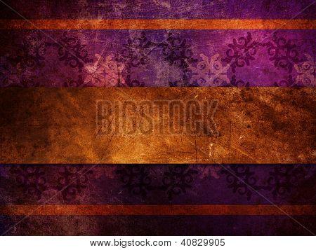 Gold Ribbon On Purple Background