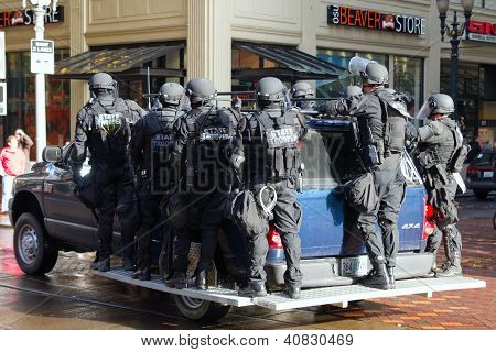 Oregon State Trooper In Riot Gear