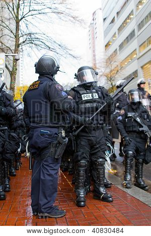 Portland Police Sergeant With Cops In Riot Gear