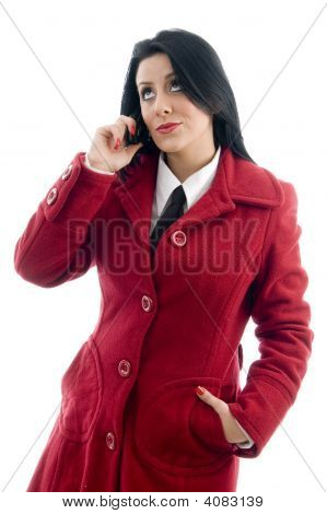 Model Talking On Mobile Phone