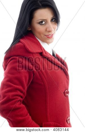 Attractive Young Female In Overcoat