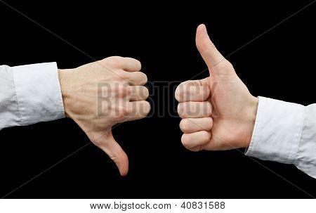 Two Hands Showing Gestures Thumb Up & Thumb Down