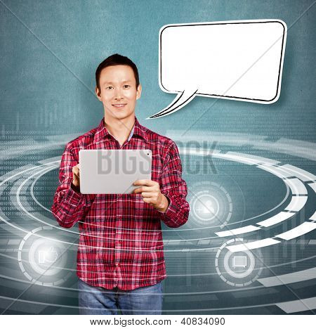 Asian man with speech bubble and touch pad in his hands got good news