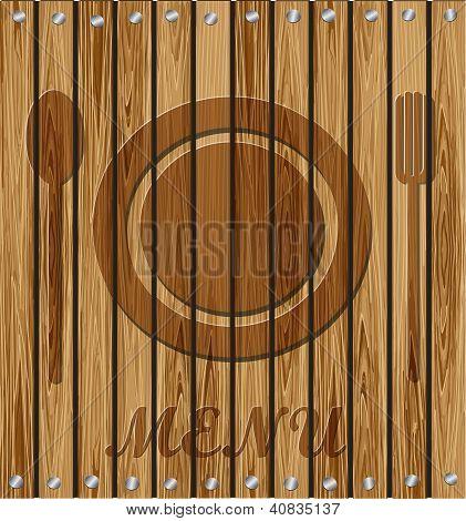 restaurant menu on a wooden background