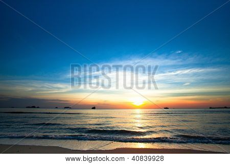 Beautiful sunset on coast of Chang island in the Siam Gulf