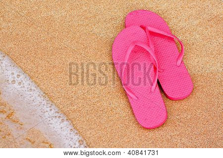 Summer Vacation Background Flip Flops On Beach