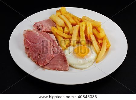Close Up Of Ham Egg And Chips