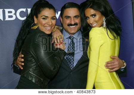 PASADENA, CA - JAN. 7: Asa Soltan Rahman, Reza Farahan and Lilly Ghalichi arrive at the NBCUniversal 2013 Winter Press Tour at Langham Huntington Hotel & Spa on January 7, 2013 in Pasadena, California