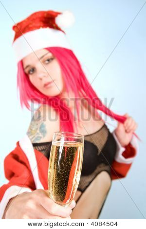 Attractive Mrs. Santa With Champagne Glass
