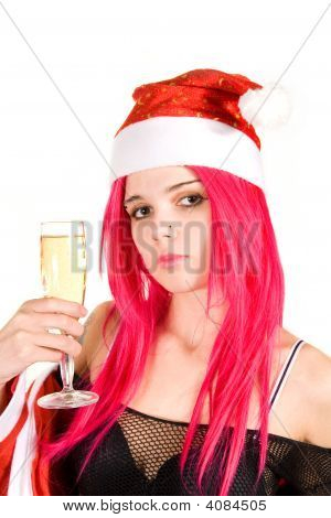 Portrait Of A Romantic Mrs. Santa With Champagne Glass