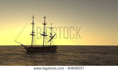 ship in the ocean in sunset light
