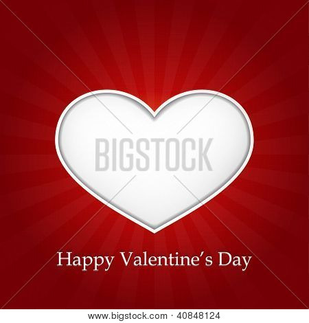 Romantic vector love heart with inner shadows on dark red background with a slight texture. Great for Valentine's or any romantic themes. Space for your text.