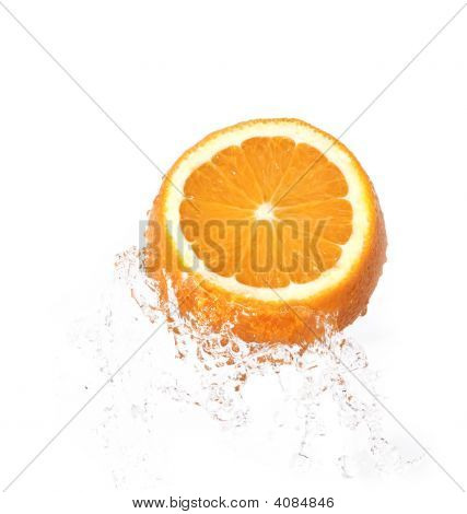 Orange In Water Splash