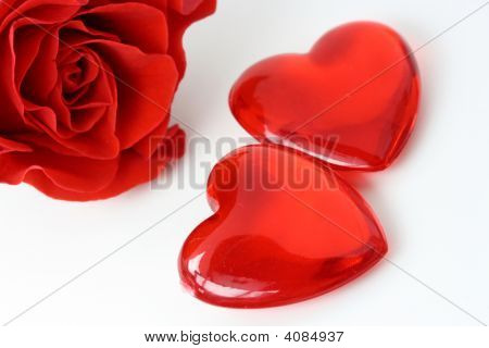 Two Hearts And Red Rose