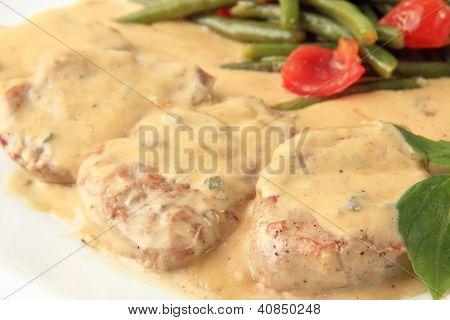 Veal In A Creamy Sauce Closeup