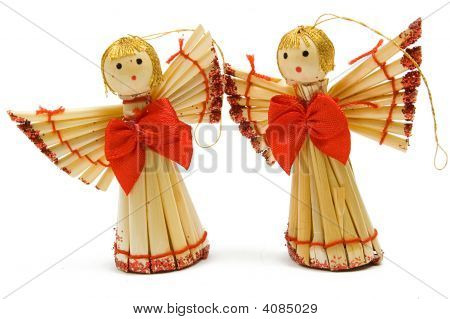 Two Handmade Christmas Decoration Angels From Straw