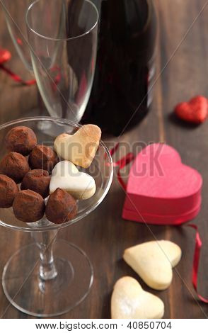 Heart Shaped Cookies And Chocolate Truffles  For Valentines Day