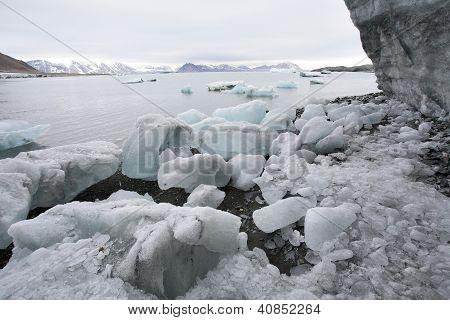 Arktische Förde Berge und Eis