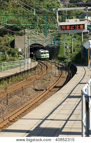 Kasashima Japan Oct 23 2010-Train Arriving At Rural Japanese Station.n.